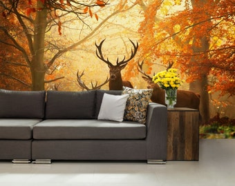 Deers Wallpaper, Animal Wallpaper, Hunting Wall Mural, Self Adhesive Vinly,  Forest Part 30
