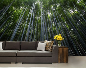 FOREST WALL MURAL, trees wall mural, forest mural, self-adhesive vinly, bamboo wall mural, green forest wall mural, wall