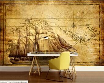 Pirate Wallpaper, Pirate Map, Vinly Wallpaper, Pirate Ship Wallpaper, Pirate  Ship Wall Part 68