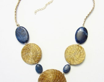 Golden Grass Necklace With Natural Sodalite Stones