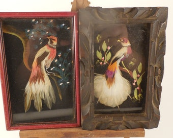 2 Small Vintage Mexican Bird Feathercraft Art Pictures