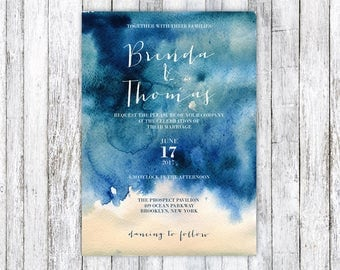 Navy blue wedding invitation, Watercolor wedding invitation, Printable Wedding Invitation, Wedding Invitation Template, Blue wedding invite