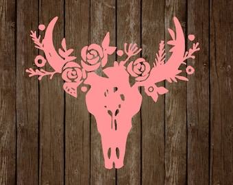 Floral Cow Skull Decal
