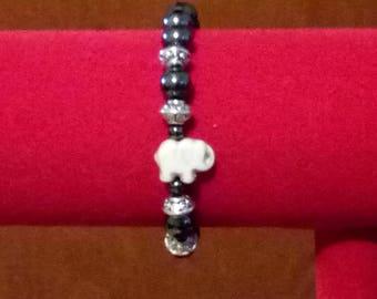 Elephant hematite silver bracelet