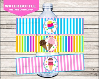 50 Off Sale Ice Cream Water Bottle Label instant download, Ice Cream Bottle labels, Ice Cream Party water Labels