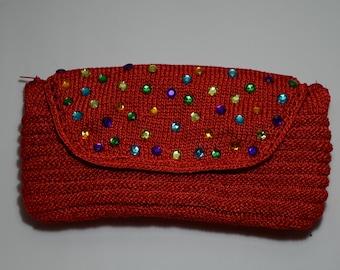 SALE!! Red envelope handbag, handmade purse, knitted handbag, red lovers