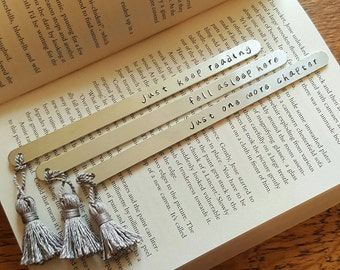 Personalised bookmark. Handstamped bookmark Tassel bookmark. Metal bookmark. Book lover gift Gift for reader. Custom bookmark Personalized