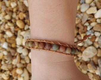 Earthy jasper wrap bracelet