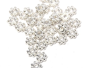 200 beads, Silver Daisy Spacer 4.5mm beads