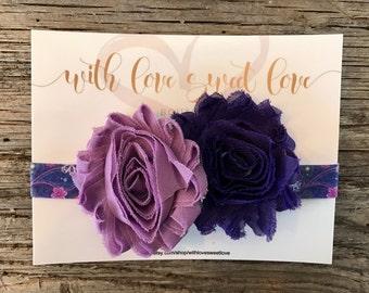Purple Flowers Elastic Baby Headband