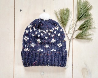 Adult Fair Isle Hat, knitted toque, Women's knit hat, winter accessories, winter toque, Pom pom hat, Little pom pom, Tweed knitted hat, blue