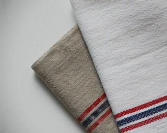 White French Linen Tea Towel - Red/ Blue Stripe
