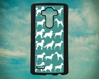 Can You Guess Different Dog Breeds White Silhouette on Teal for LG G3 G4 G5 G6 Phone Case Cover