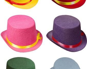 children's felt Top Hat -  Top hat book week  - Coloured top hats