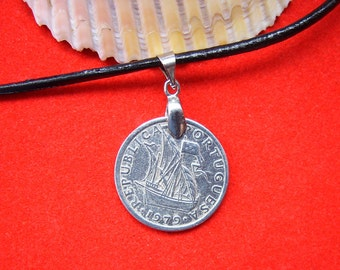 Portugal Coin Necklace with Ship. 2,5 Escudos, Mens Necklace, Womens Necklace, Coin Pendant,1979, 1981,1984,1985