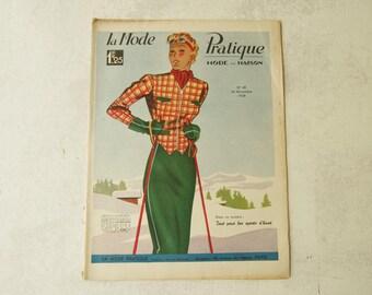 """30's French Fashion Magazine. 1938 Winter """"All for winter sports"""" La Mode Pratique"""