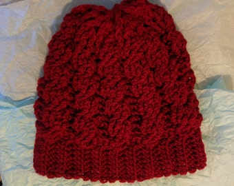 "The ""Mariah"" Cable Crochet Hat in Cranberry"