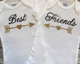 Best Friends, Twin Baby Onesies, Twin Baby Shower Gift, Twin Baby Girl Gift, Twin Infant Clothing, Twin Cute Baby Gift, Twin Onesies