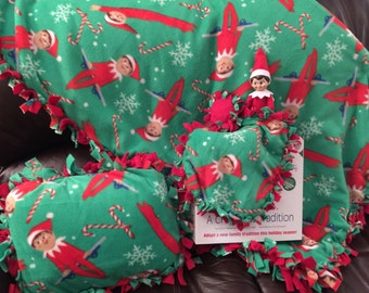 Elf on a shelf kid size blanket and pillow set