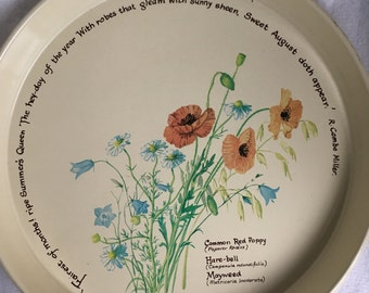 Vintage Plate R.Combe Miller '77 tray retro flowers