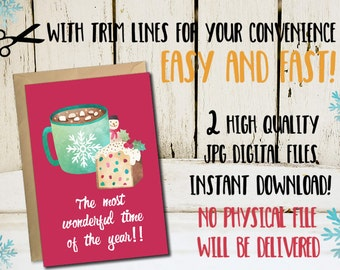Christmas printable card, 5x7 xmas cards, Set of 2 Christmas printable cards, 5x7 Instant download printable christmas cards, Holidays cards