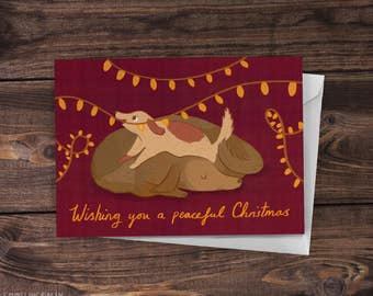 Cheeky Puppy Dog - Illustrated 'Wishing You A Peaceful Christmas' Greeting Card