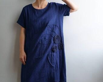 Indigo Double Gauze Cotton Loose Dress-Indigo