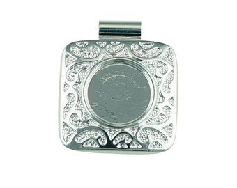 Silver Plated Square Fancy Pendant with 12mm Cup