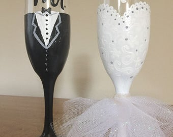 Mr and Mrs Hand Painted Champagne Flutes with Wedding Dress and Tuxedo