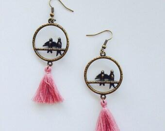 Tassel Earrings, Tassel Bird Hoop Earrings, Hoop Drop Earrings