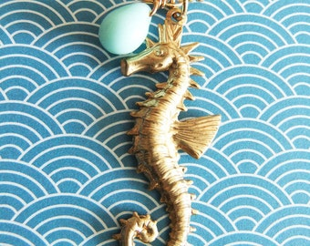 Vintage sea horse and mint alabaster drop