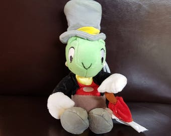 Vintage Jiminy Cricket Soft Toy with red umbrella