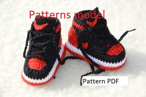 Crochet Baby Booties Nike Pattern : CROCHET PATTERN Nike Air Jordan 1 Crochet Baby Booties