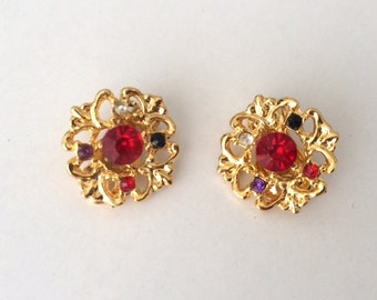 Vintage 1970's Haute Couture Style Lucite Rhinestone Clip On Earrings