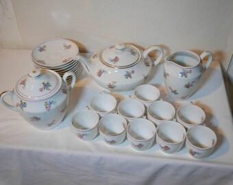 Vintage coffee service   Limoges porcelain   Wedding gift   Tea Party   Vintage tea service   Bridal Party   Coffee service flowers