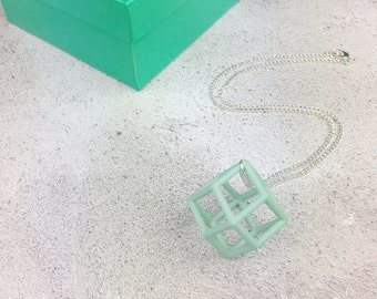 3D printed mint green geometric statement necklace