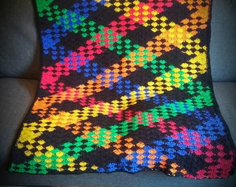crochet blanket, kids blanket, multicolor blanket, afghan, knit blanket, crochet afghan