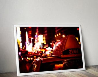 Times Square print, New York City art poster, neon city lights photo, cityscape night photography