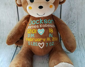 Monkey Birth Announcement, Stuffed Animal Birth Announcement, New Baby Gift, New Mommy Gift, Nursery Decor, Birth Announcement, Baby Shower