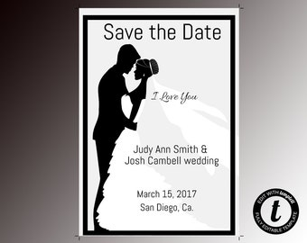 Save the Date invitation,  Save the Date invitation template, wedding template, Save the Date, editable, formal, black and white