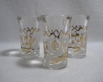 3 Frosted Shot Glasses - Gold Leaf/Floral/Bird Pattern