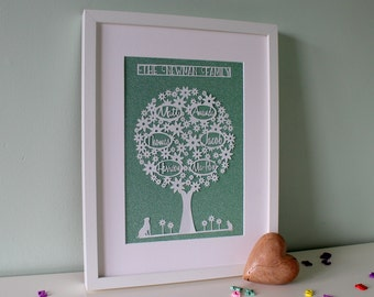 Family Tree, Papercut, Gift for parents or grandparents, Anniversary gift, 1st Anniversary, Paper anniversary, Wedding Anniversary