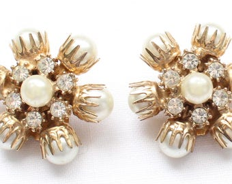 CE # 127 Very Unique Vintage Gold Tone Clip On Earrings with Pearl-like Beads and Clear Crystal Rhinestones