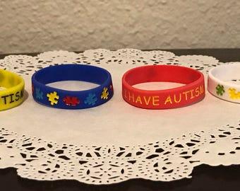 4 pcs I HAVE AUTISM medical alert bracelet for kids Puzzle pieces awareness (16 cm)