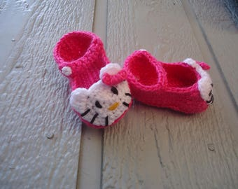 Hello Kitty Baby Shoes, Baby Sandals, Baby booties, Hello Kitty crochet baby sandals