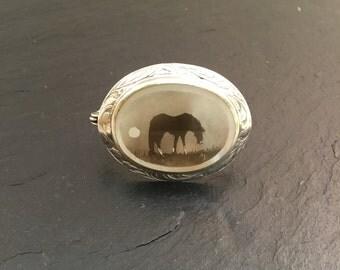 Fumage brooch, horse, horse brooch, silver brooch, fumage, Sterling silver brooch, mother of pearl brooch, oval brooch