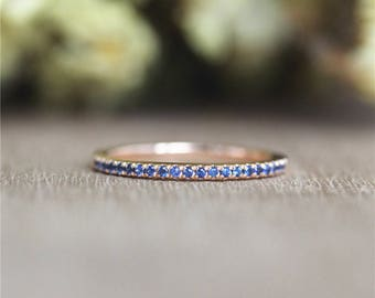 Fancy Round Half Natural Blue Sapphire Ring in 14K Solid Rose  Gold/Wedding&Engagement Ring/Promise Ring/Anniversary Ring/Unique Ring