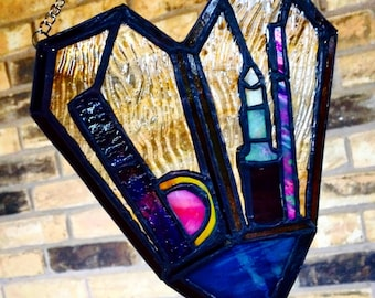 Double-Coffin Heart Stained Glass Suncatcher