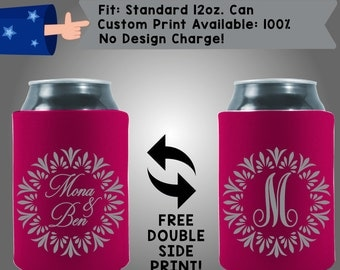 Names Last Initial Collapsible Fabric Wedding Cooler Double Side Print (W193)