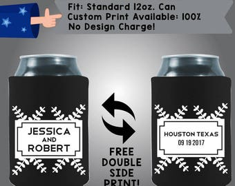 Robert and Jessica City State Date Collapsible Fabric Wedding Can Coolers, Cheap Can Coolers,  Wedding Favors (W266)